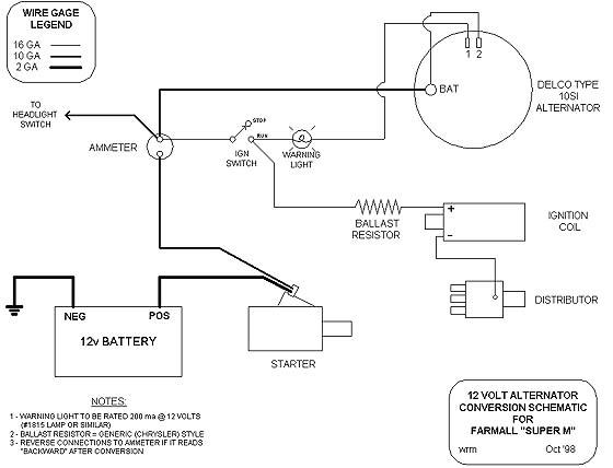 12valt yesterday's tractors step by step 12 volt conversion 3 wire alternator diagram at sewacar.co