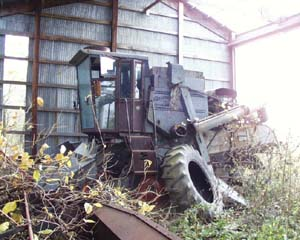 old unused combine sits in barn overgrown with vegetation