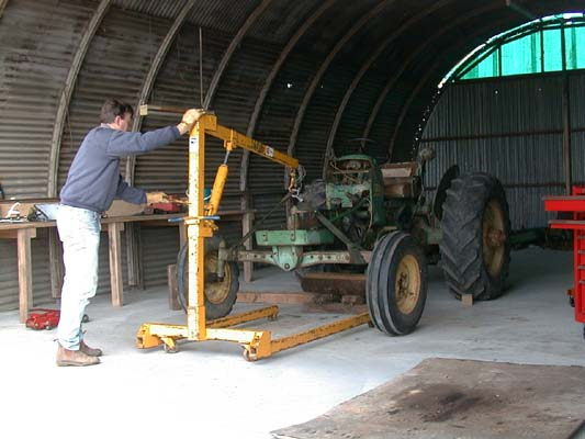 tractor raised off ground