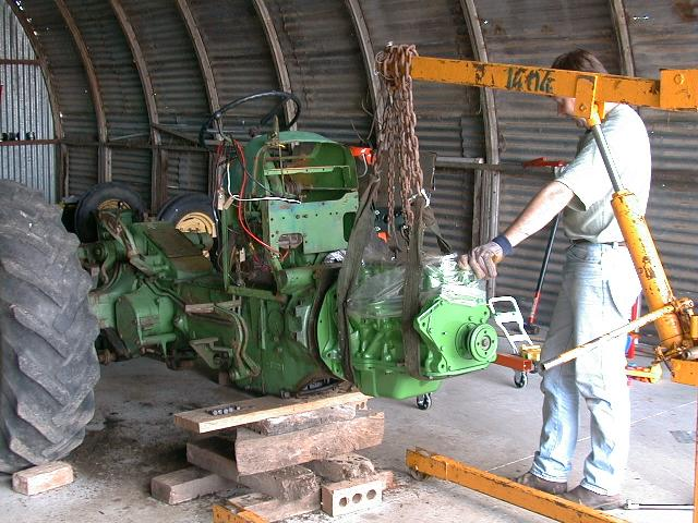 bolting engine to tractor