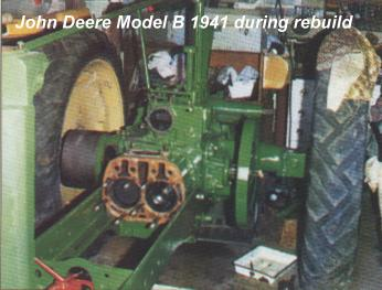 John Deere Model B 1941 during rebuild