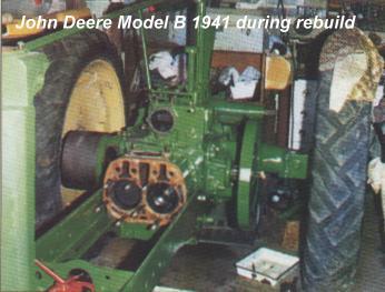 John Deere Model B 1941 during rebuild