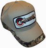 photo of Kakhi with camouflage edge which wraps around the side and back of the hat, 100% cotton.