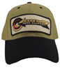 photo of Kakhi hat with black brim and under visor, patch is sewn on for durability.