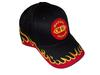 photo of Red and yellow flames on black 6-panel hat.