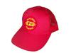 photo of 6 panel low profile red mesh hat, plastic snap size adjuster, 65% cotton, 35% polyester, 100% nylon back.