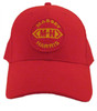 photo of Round logo sewn on for durability, red hat with matching brim.