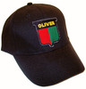photo of Vintage Oliver logo sewn onto a solid black hat, 6 panel low profile hat.