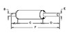 photo of Round body 5-1\2 inch shell diameter, A= 2-1\2 inch inlet length, B= 2-3\8 inch inlet inside diameter, C= 14-1\2 inch shell length, D= 11-3\4 inch outlet length, E= 2-1\2 inch outlet outside diameter, F= 29 inches overall length. For model 544 Farmall with C200 gas or D239 diesel engine.