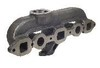 photo of Intake\exhaust manifold. For tractor models 454, 464, 544, 574, 674, 2400A, 2400B, 2405B, 2410B, 2412B, 2500A, 2500B, 2505B, 2510B, 2514B, 3400A, 3500A, 4500 with C157, C175, C200 engines with gas updraft. Replaces 398071R1. Exhaust goes up, off-center, not on the end. Uses R0301G gasket set, not included.