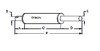 photo of Round body 3-1\4 inch shell diameter, A= 2-3\4 inch inlet length, B= 2 inch inlet inside diameter, C= 16-1\2 inch shell length, D= 12-1\2 inch outlet length, E= 2 inch outlet outside diameter, F= 32 inches overall length. For tractor models (30, 20, 31, 32, 40B, 50 all with gas or diesel engine), (230, 240, 250 all with Perkins Gas or Diesel Engine), (290 with Perkins Gas or Diesel Engine also must use 898534M1 OEM number tailpipe).