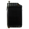 photo of This new radiator fits the following tractor models: 1100 and 1130 with the turbo diesel with oil coolers prior to engine serial 354UA3356T. It measures 19 1\2 inches over all width, 22 inches core height, 18 inches core width, and has a depth of 2 3\4 inches. The fill neck height is 1 3\4 inches, the oil cooler has 3\8 inch NPT Fittings, and it has five rows of tubes. It replaces part number: 509752M91.