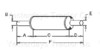 photo of A= 9 inch inlet length, B= 3-7\16 inch inlet inside diameter, C= 20-1\2 inch shell length, D= 2-3\4 inch outlet length, E= 3-1\2 inch outlet outside diameter, F= 32 inches overall length. For tractor models (1130 with T-354 diesel engine), (1100 with 354 diesel engine).