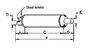 photo of A= 2-3\4 inch inlet length, B= 2-1\2 inch inlet inside diameter, C= 36 inch shell length, D= 3 inch outlet length, E= 3 inch outlet outside diameter, F= 41 inches overall length. For tractor models (1500, 1800 all late models with Cat Diesel Engine), (1505, 1805 with Cat Diesel Engine).