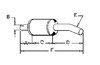 photo of Round body 6 inch shell diameter, A= 12 inch inlet length, B= 2-15\16 inch inlet inside diameter, C= 13 inch shell length, D= 20 inch outlet length, E= 3 inch outlet outside diameter, F= 46 inch overall length. For tractor models 815, 915 both with 345 V-8 gas or 6 cylinder diesel engines.