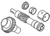 photo of Auxiliary driveshaft and gear assembly. For tractor models TX550, 550, 750, (760 engine serial number UA48970L and up), 1014, 1100, 1105, (1130 engine serial number 354UA3355T and up), 1134, 1135, 2675, 2680, 2685, 2720, 2725, 3630 all with A6.354, A6.354.4, T6.354, T6.354.1, TC6.354.1 or T6.354.4 diesel engines. Replaces 41115367, 743924M91, 736907M92.