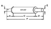 photo of Round body 4-1\4  shell diameter, A= 2  inlet length, B= 2-3\8  inlet I.D., C= 14  shell length, D= 5  outlet length, E= 2-1\2  outlet O.D., F= 21  overall length. For tractor models (101 Jr, 101 Sr, 102 Sr, 20, 20K, 22, 30, 30K, 33, 333, 44, 44 Special, 44D, 44K, 444, 81, 82 all with gas or diesel engine from 1942 to 1957), (22K with gas or diesel engine from 1942 to 1957 except 1948).