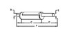photo of Round body 6 inch shell diameter, A= 3-1\2 inch inlet length, B= 2-3\4 inch inlet inside diameter, C= 26-1\2 inch shell length, D= 14 inch outlet length, E= 2-3\4 inch outlet outside diameter, F= 32 inches overall length. For tractor models 770, 870 both with gas or diesel engines built after 1970.
