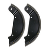 photo of This is a Riveted Brake Shoe Assembly (2-piece set). 1 Pair is for 1 wheel only. Two sets required per tractor. Overall outer curved length: 12-1\4 inches, Lining length: 11-5\8 inches, Width: 2-1\4 inches, Used one 730 both gas, LP, diesel Row-Crop and Standard, 720 both gas, LP, diesel, Row-Crop and Standard, 820 2 cylinder, 830 2 cylinder, 840. Replaces John Deere part number AF2789R.