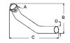 photo of A= 2 bolt inlet, B= 13  vertical length, C= 25  horizontal length, D= 2-1\2  outlet O.D.. Use with manifold F30305R and mufflers R21826R, AR20450 and AA2214R. For tractor models (70 from 1953-1955), (720 from 1956-1958), (730 from 1958-1959).