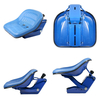photo of New Ford\New Holland replacement seat. Complete seat with suspension, blue. Fits Ford \ New Holland Compact tractor models: 1110, 1210, 1310, 1510, 1710, 1910; Fits Industrial\Construction models: 340A, 340B, 345D, 3500, 445, 445A, 445C, 445D, 450, 515, 540A, 540B, 545A, 545C, 545D; Tractor models: 2100, 2110, 2120, 2150, 2300, 231, 2310, 234, 2600, 2810, 2910, 3000, 3055, 3100 3300, 3310, 3330, 3600, 3610, 3910, 4000, 4100, 4110, 4200, 4330, 4340, 4400, 4410, 4600, 4610, 5000, 5100, 5200, 531, 532, 5600, 5900, 6600, 6700, 7000, 7100, 7200. There is a plate on the bottom that is 4 inches wide and 8 1\4 inches long. In the center of this plate are 2 slots that are 3\8 inches wide, 1\4 inch from each edge and 1\2 inch apart and they are about 4 inches long. Overall width is 19.5 inches, overall length of base is 15.25 inches, overall height of base is 9.25 inches.