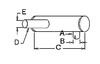 photo of Round body 4-1\4  shell diameter, A= 2-1\2  inlet length, B= 2-3\8  inlet I.D., C= 21  shell length, D= 8-1\4  outlet length, E= 2  outlet O.D., F= 21  overall length. For tractor models (600, 660 Combines with gas or diesel engines).