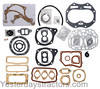 photo of Contains the following gaskets and seals; Carb to manifold A4631R, Carb to intake A4634R, Intake manifold A4642R, Manifold AB5504R, Vent pipe B60R, 2 Valve cover washers B425R, Valve cover B3722R, Water inlet  B3754R, Water outlet B3565R, Block to crankcase B3742R, Cylinder head B3743R, Cylinder head washers B369R, Sediment bowl C1778R, Water pipe F1056R, Vent outlet pipe R495R, Air cleaner R20039R, Flywheel cover A3311R, Drive shaft outer bearing cover A3817R, Main bearing oil hole A4847R, Main bearing cover B3030R, Main bearing housing B3735R, Main bearing housing B3734R, Main bearing seal AB5160R, Brake housing B2743R, Flywheel spacer B3028R, Reduction gear cover B3084R, Dust shield B3122R, Clutch fork bearing B3467R, Clutch fork bearing B3980R, 3 Camshaft left bearing shims B3982R, Distributor mounting F2632R, Flywheel cover packing strip F2728R, Governor housing B2655R, Governor side cover B3593R, Ring and cylinder set AB5363R, RE540377, Crankshaft and bearing set AB5364R