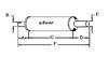 photo of Round body 4-1\4  shell diameter, A= 2-3\4  inlet length, B= 1-7\8  inlet I.D., C= 13-1\2  shell length, D= 2-3\4  outlet length, E= 2  outlet O.D., F= 19  overall length. For tractor models (500 1955 to 1957 with gas engine), (530 SN# up to 81911470 with gas engine).