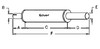 photo of Round body 4-1\4  shell diameter, A= 2-3\4  inlet length, B= 1-7\8  inlet I.D., C= 13-1\2  shell length, D= 2-3\4  outlet length, E= 2  outlet O.D., F= 19  overall length. For tractor models (600B, 611B both from 1957-1958).