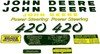 photo of For John Deere 420. Licensed John Deere product. This decal set has GREEN Letters\Numbers. This is a self adhesive, 12 piece set. It is printed on Mylar, not die-cut.