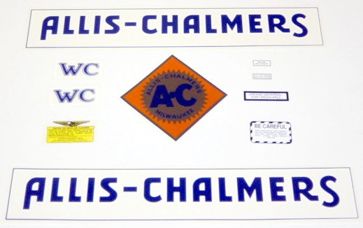Allis Chalmers WC Tractor Decal Set 1933-38 Blue Border NEW FREE SHIPPING