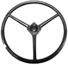 photo of For D10, D12, D14, D15, D17, D19, D21. Steering Wheel. 17 1\2 inch diameter, splined hub. Black Plastic with Covered Spokes. Diamond Center AC Logo available as part number R3996. Also replaces 232033.