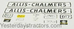 Allis Chalmers D17 Decal Set R1270V